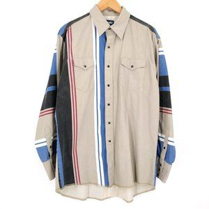 VTG Wrangler Western Stripe Pearl Button Shirt 17